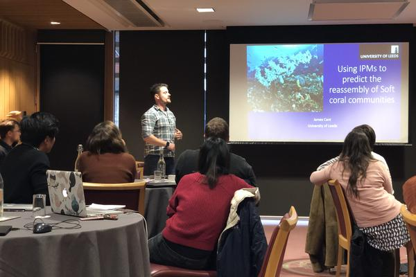 james presenting his research at the nerc ipm course on coral demography and community ecology credit r salguero gomez